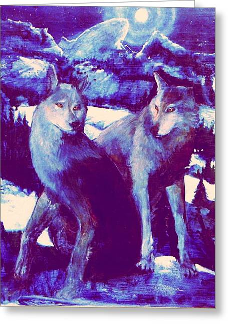 Midnight Wolves Greeting Card