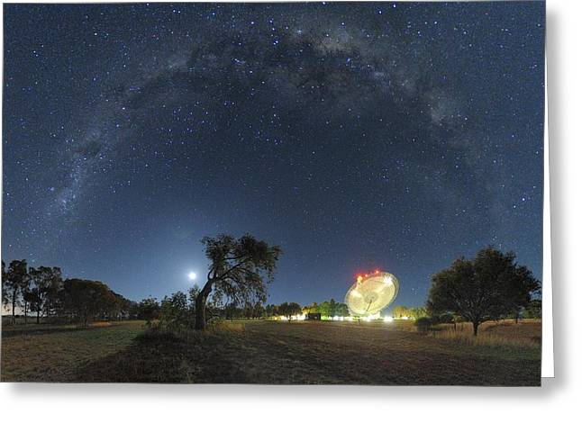Milky Way Over Parkes Observatory Greeting Card by Alex Cherney, Terrastro.com
