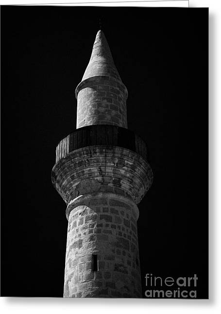 Minaret Of The Small 11th Century Touzla Mosque In Larnaca Republic Of Cyprus Greeting Card