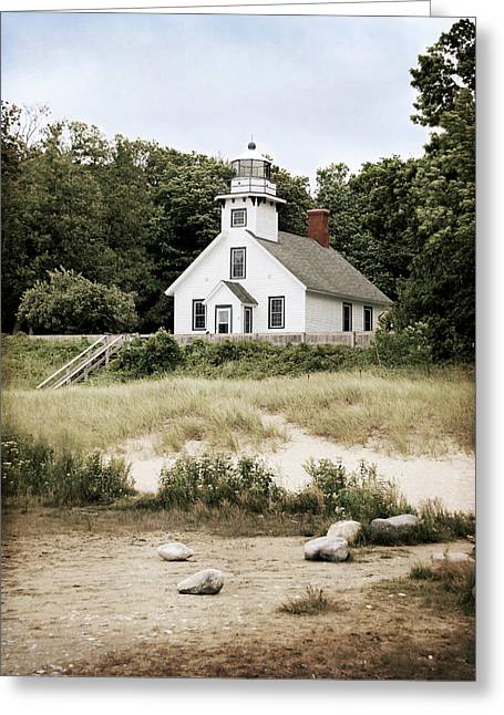 Mission Point Lighthouse Greeting Card by Christy Woods