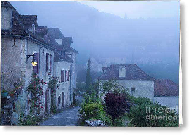 Misty Dawn In Saint Cirq Lapopie Greeting Card by Brian Jannsen