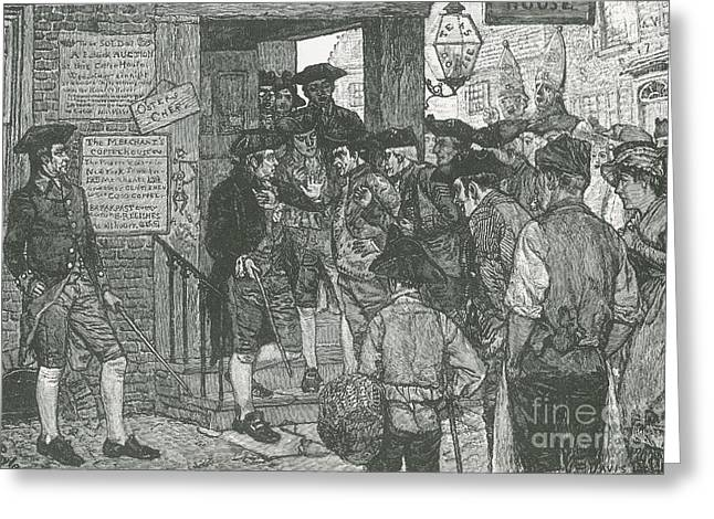 Mob Confronting Stamp Officer Greeting Card