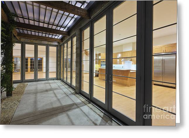 Modern Home Kitchen Through Glass Doors Greeting Card by Jeremy Woodhouse
