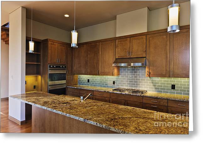 Modern Kitchen Interior Greeting Card by Jeremy Woodhouse