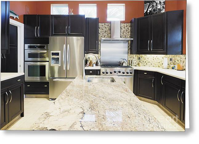 Modern Kitchen Interior Greeting Card by Skip Nall