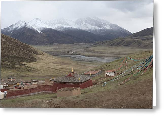 Monastery Buildings In Mountain Valley Greeting Card by Phil Borges