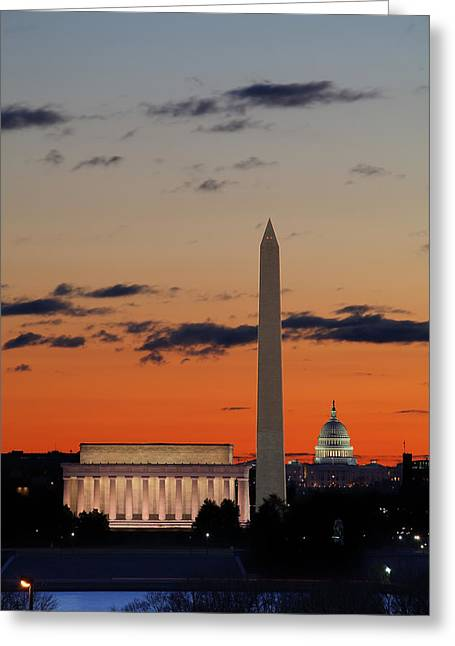Monuments At Sunrise Greeting Card by Metro DC Photography
