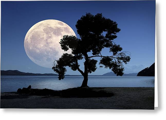 Moon Rising Over The Sea Greeting Card
