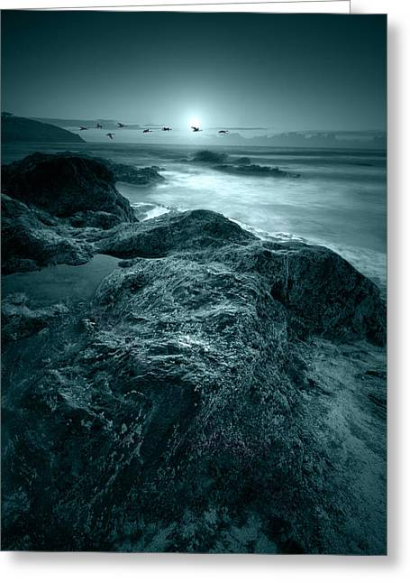 Moonlit Beach Greeting Card by Jaroslaw Grudzinski
