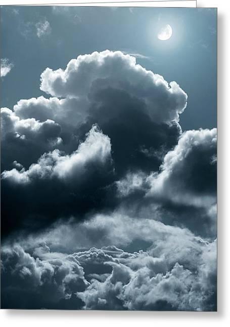 Moonlit Clouds Greeting Card by Detlev Van Ravenswaay