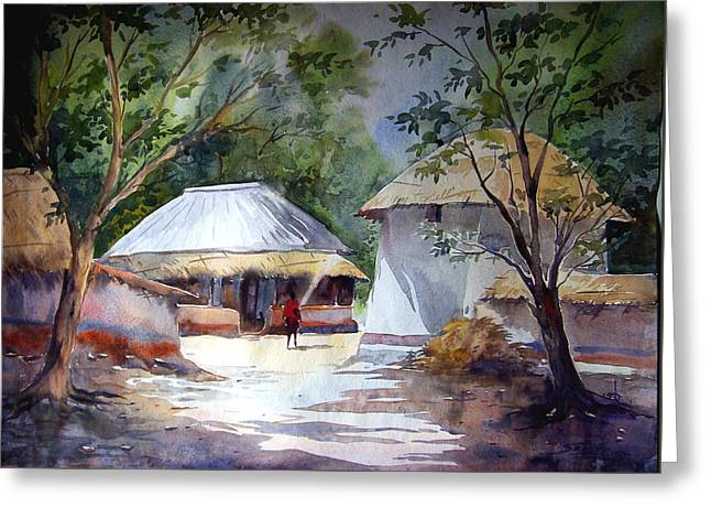 Morning Village Light Greeting Card by Samiran Sarkar