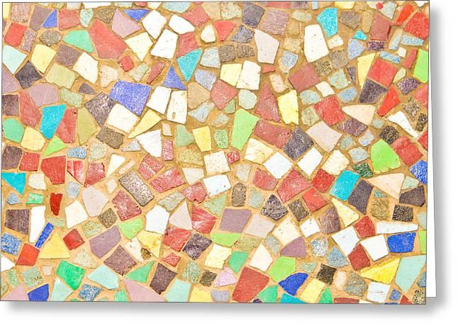 Mosaic Background Greeting Card by Tom Gowanlock