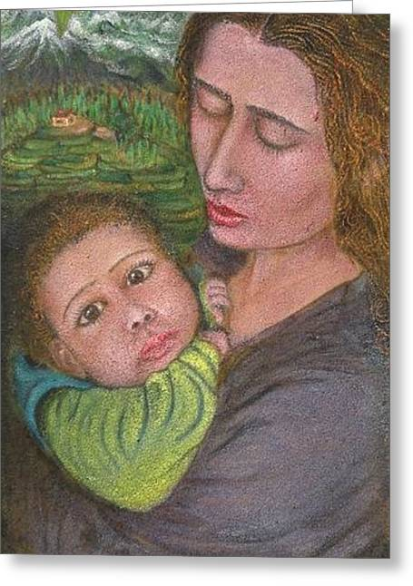 Mother And Child Greeting Card by Shafiq-ur- Rehman