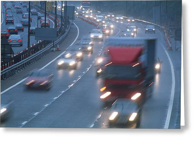 Motorway Traffic Greeting Card by Jeremy Walker