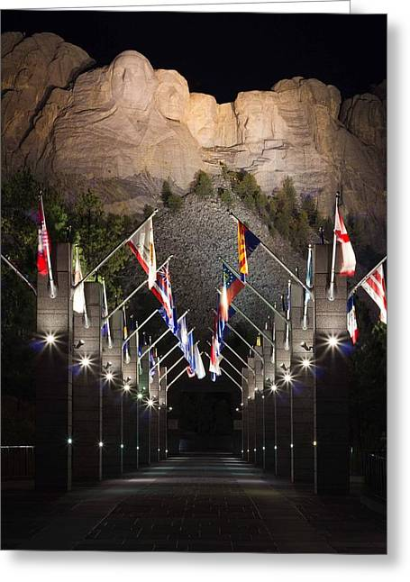 Mount Rushmore At Night Greeting Card by Twenty Two North Photography