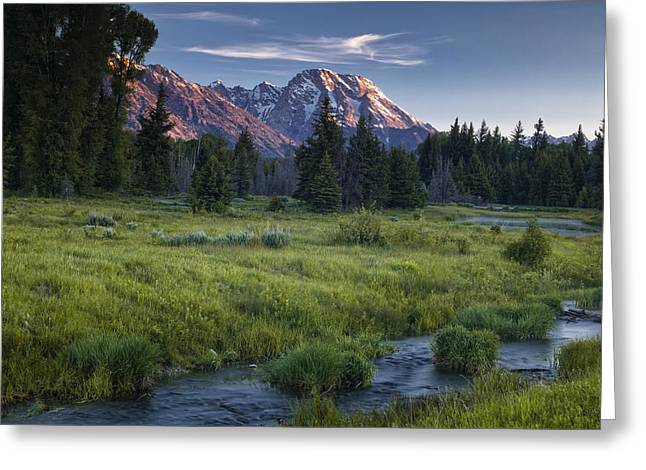 Mountain Stream Greeting Card by Andrew Soundarajan