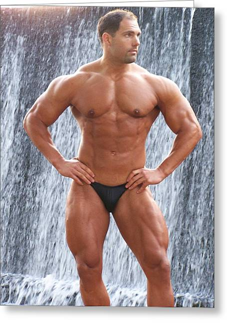 Muscleart Marius Waterfall And Muscle Greeting Card by Jake Hartz