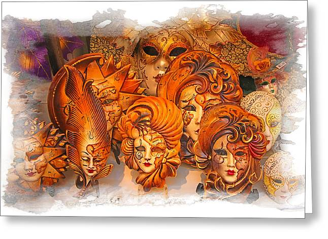 Music Masks Greeting Card by Judy Deist