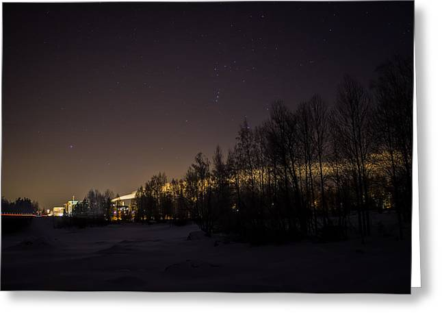 Greeting Card featuring the photograph My City Under Orion by Matti Ollikainen