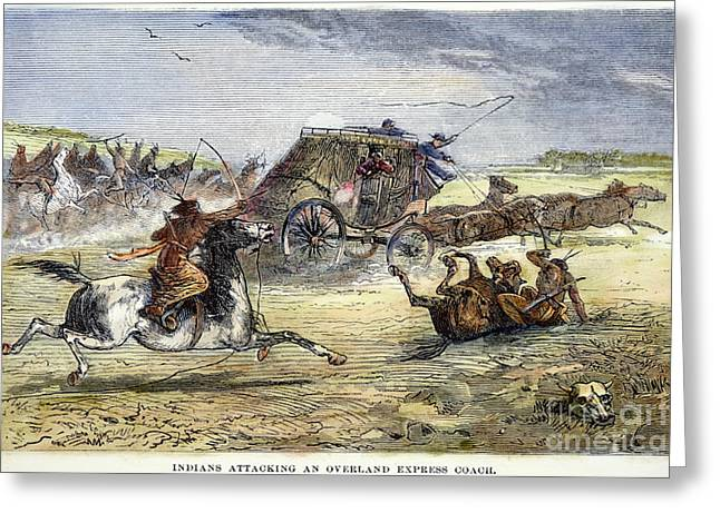 Native American Attack On Coach Greeting Card by Granger