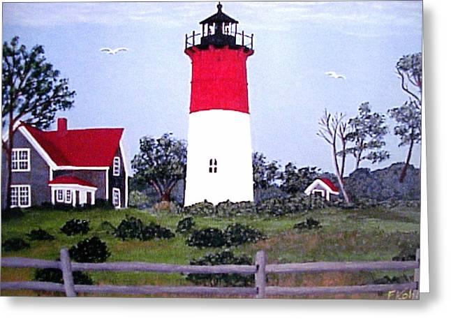 Nauset Lighthouse Painting Greeting Card by Frederic Kohli