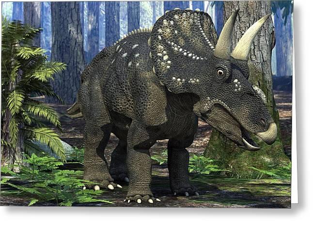 Nedoceratops Dinosaur, Artwork Greeting Card by Roger Harris