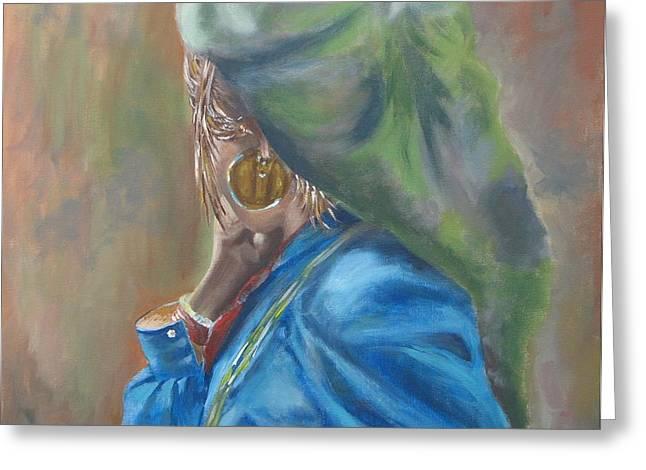 Greeting Card featuring the painting Nepal by Annemeet Hasidi- van der Leij
