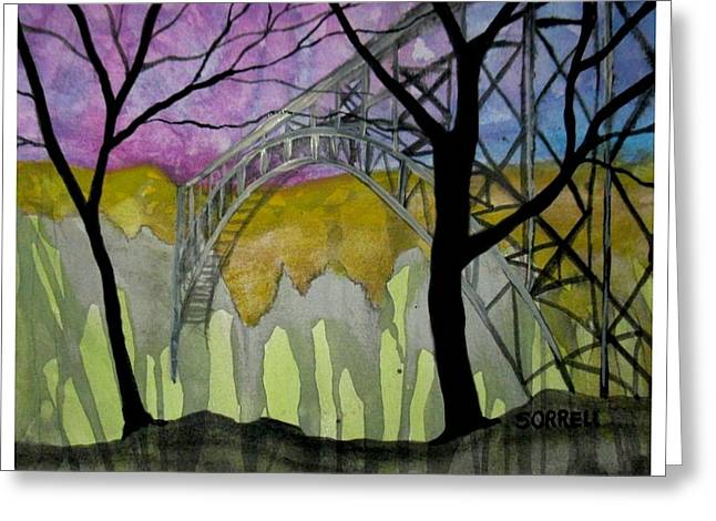 Greeting Card featuring the painting New River George Bridge by Amy Sorrell