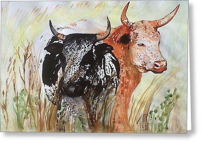 Nguni I. Greeting Card by Paula Steffensen
