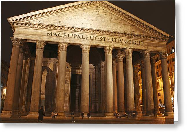 Night Lights Of The Pantheon In Piazza Greeting Card by Trish Punch