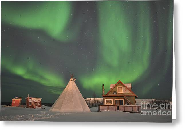 Northern Lights Above Village Greeting Card