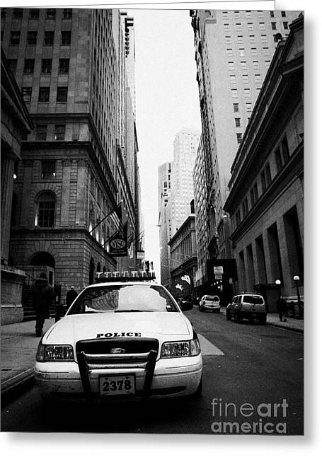 Nypd Police Patrol Car Parked In Wall Street Downtown New York City Greeting Card by Joe Fox