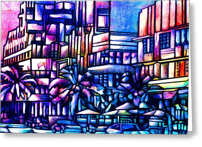 Ocean Drive Greeting Card by Giuliano Cavallo