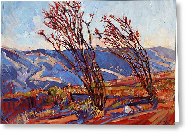 Ocotillo Mountains Greeting Card by Erin Hanson