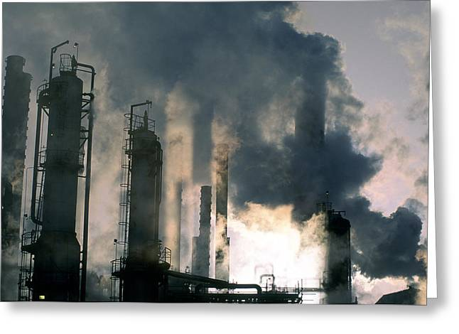 Oil Refinery, Pollution Greeting Card by Ron Watts