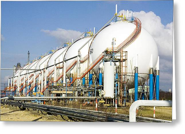 Oil Refinery Storage Tanks Greeting Card