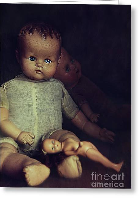 Old Dolls Sitting On Wooden Table Greeting Card by Sandra Cunningham