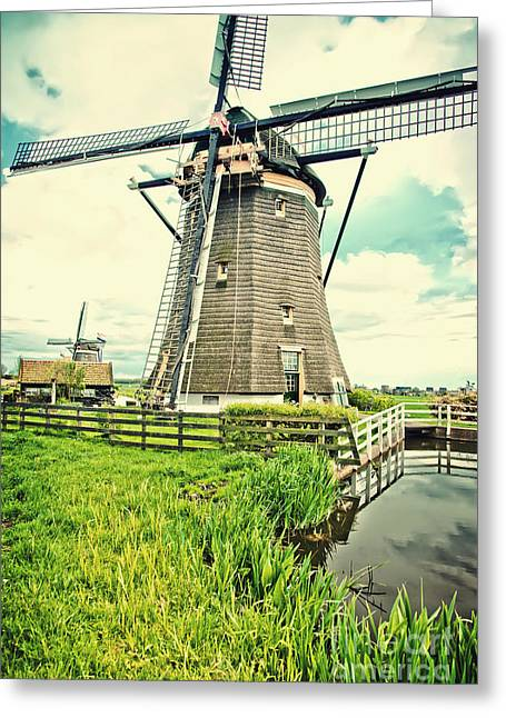 Old Dutch  Windmill Greeting Card