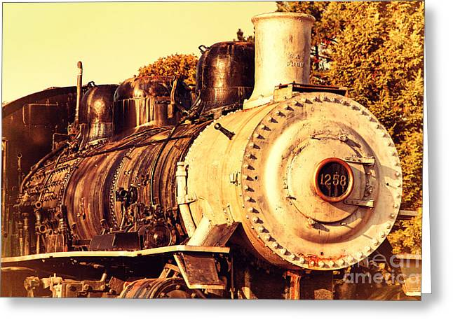 Old Steam Locomotive Engine 1258 . 7d10482 Greeting Card