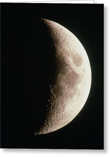 Optical Image Of A Waxing Crescent Moon Greeting Card by John Sanford