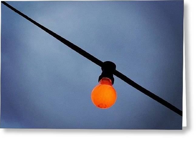 Orange Light Bulb Greeting Card by Matthias Hauser