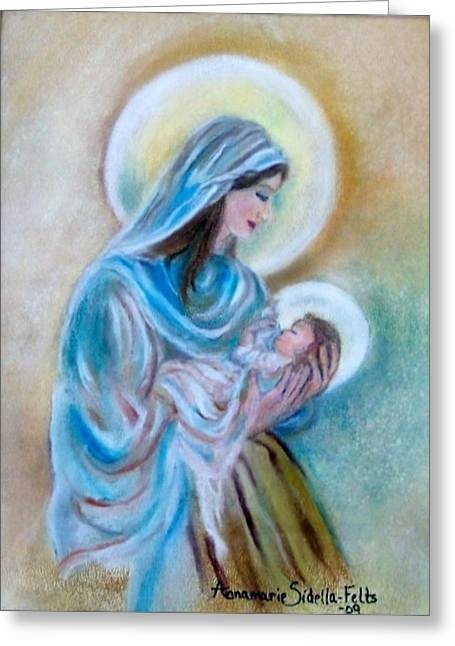 Our Mary's Love Greeting Card by Annamarie Sidella-Felts