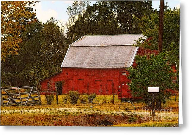 Greeting Card featuring the photograph Ozark Red Barn by Lydia Holly