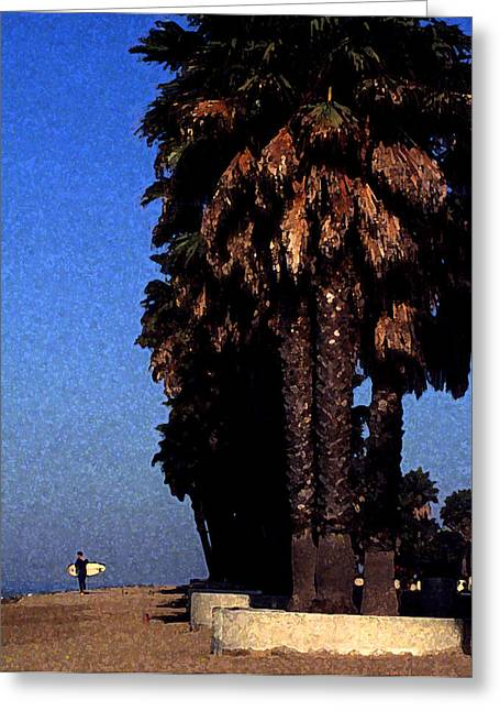 Palm Trees At Surfers Point Greeting Card by Ron Regalado