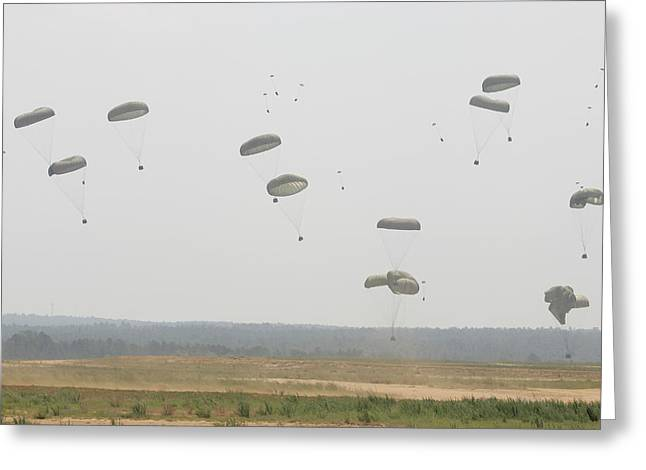 Paratrooper Supplies Coming Greeting Card by Skip Brown