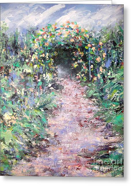 Greeting Card featuring the painting Parsons Garden Walk by Cynthia Parsons