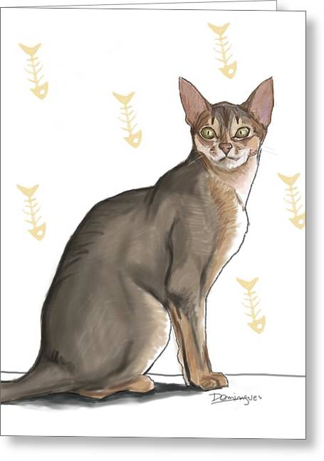 Pastel Cat Greeting Card by Mario Domingues