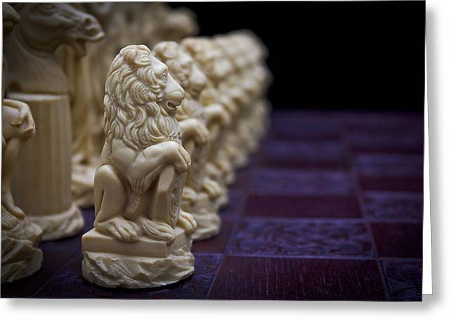 Pawns In A Row Greeting Card by Doug Long