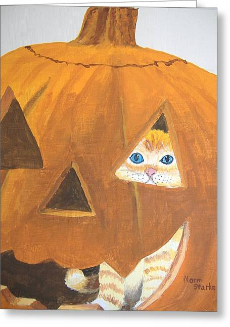 Greeting Card featuring the painting Peekaboo by Norm Starks