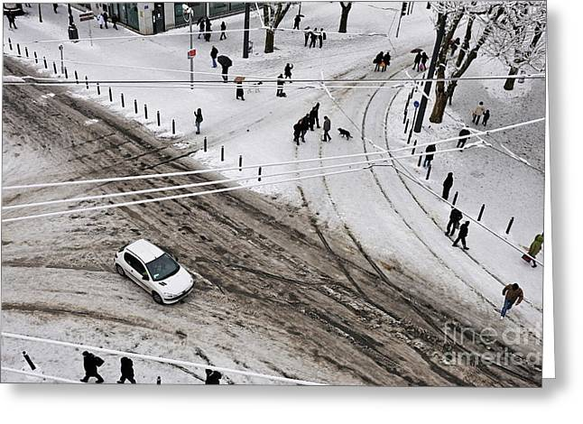People Walking On Snow In Marseille Greeting Card by Sami Sarkis